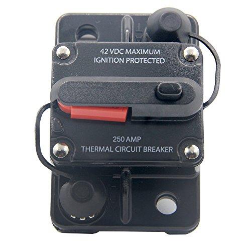 Thermal Breaker Standard - RKURCK 12V- 42VDC 250A Manual Reset Circuit Breaker,Fuse Holder for Car Automotive Marine Boat Audio 250Amp