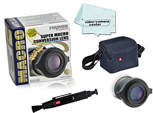 Raynox DCR-250 Macro-Scan 2.5x Super Macro Conversion Lens,with Snap-on Universal Mount for 52mm to 67mm Filter Diameters+LensPen Lens Cleaner + 1 Micro-Fiber Cloth + Manfrotto CSC Shoulder Bag Blue by Raynox