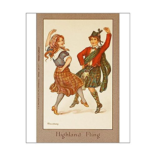20x16 Print of Highland Fling by Florence Hardy (Scottish Country Dance Costumes)