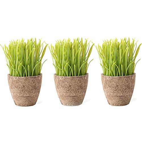 Louiesya 3 Pcs Artificial Potted Plant, Wheat Grass,Green Fake Plant for Bathroom/Home Decor, Small Artificial Faux Greenery for House Decorations