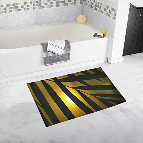 Palm Neon Light Neon Party Art Artificial Leaf Custom Non-slip Bath Mat Rug Bath Doormat Floor Rug For Bathroom 20 X 32 Inch -