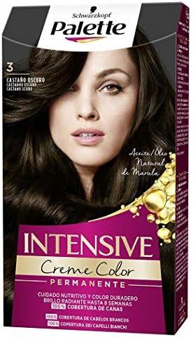 Schwarzkopf Palette Intensive Creme Color – Tono 3 cabello Castaño Oscuro - Coloración Permanente de Cuidado con Aceite de Marula – Óptima cobertura ...