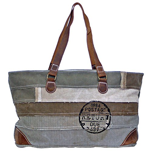 Vintage Canvas and Leather Recycled Tents Large Tote Bag - Recycled Canvas Tote Bags