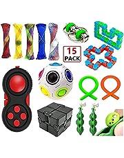 EDsports 19 Pack Sensory Fidget Toys Set-Bike Chain,Marble Fidget Toys,Rainbow Magic Sensory Balls,Squeeze-a-Bean Soybeans for Autistic Relieves Stress