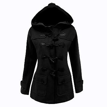 5ef2f7d70a7e6 BURFLY Women Lady Casual Solid Colour Duffle Coat Hoodie Woolen Coat ...