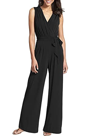 798686f6d1c KAKALOT Women Solid Jumpsuit High Waist Long Pant Wide Leg Ruffle Rompers  Black S