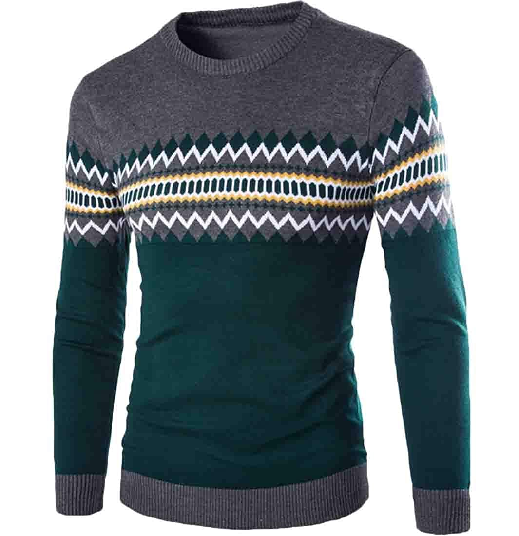 omniscient Mens Casual Pullover Sweater Cable Crewneck Knit Long-Sleeved Sweaters Tee