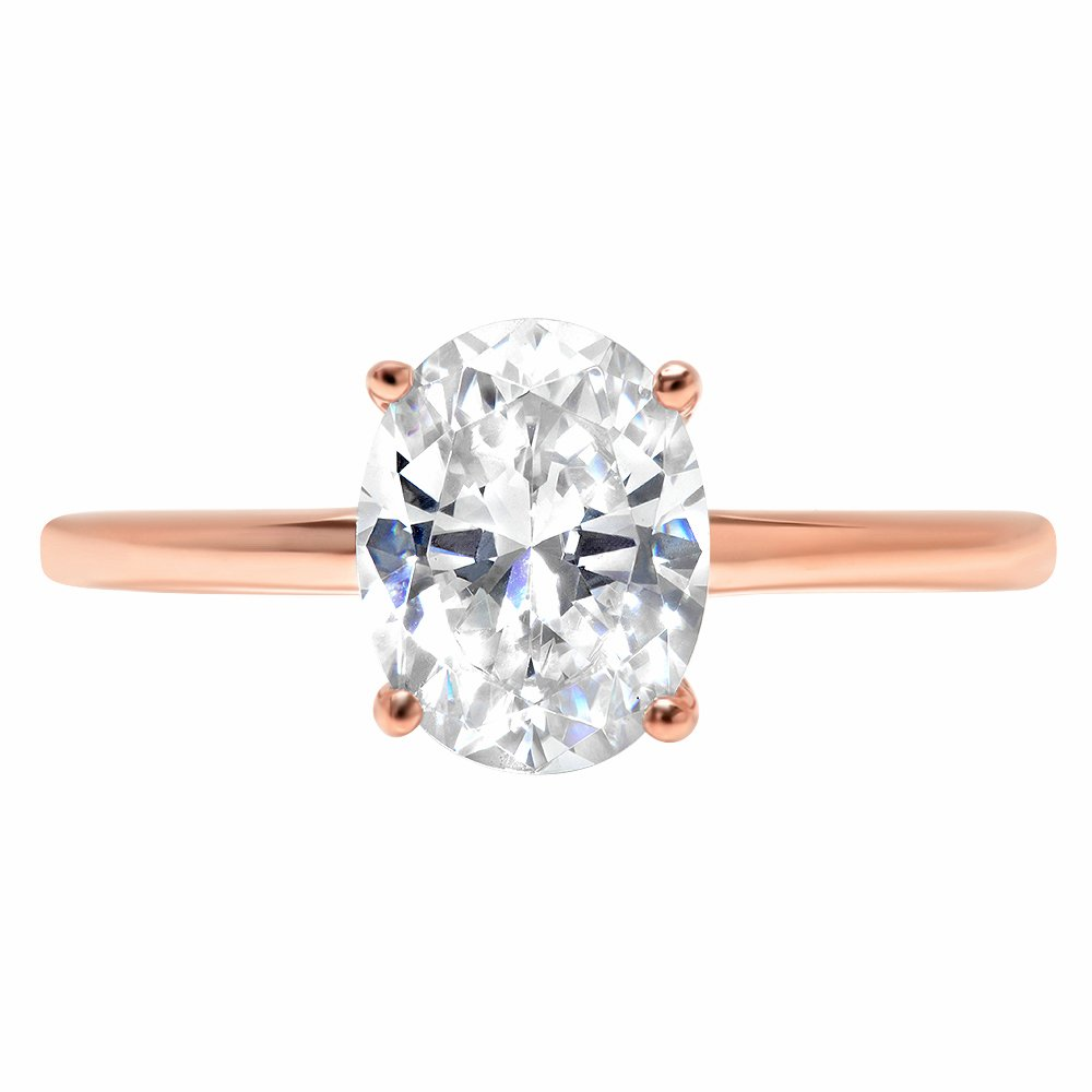Clara Pucci 2.1ct Oval Brilliant Cut Simulated Diamond Classic Solitaire Designer Statement Ring Solid 14k Rose Gold for Women, 9.75
