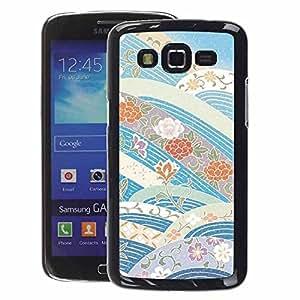A-type Arte & diseño plástico duro Fundas Cover Cubre Hard Case Cover para Samsung Galaxy Grand 2 (Sky Flowers Blue Tones)