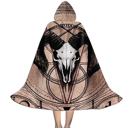 Satanic Halloween Costume (Pentagram Demon Goat Head Cloak Cape Kids Hooded Robes Party Halloween Cosplay Cloak Hoodie Children Costumes)