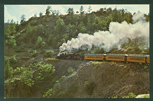 Denver and Rio Grande Narrow Gauge Yellow Passenger Cars Train Railroad Postcard
