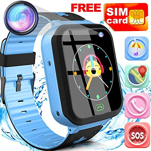 "Kids Smart Watch Phone with Free SIM Card Outdoor Waterproof Activity GPS Tracker for 3-14 Girls Boys 1.44"" Touch Screen 2 Way SOS Call Sport Watch Camera Voice Chat Anti-Lost Wristband Birthday Gifts"