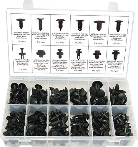 Swordfish 60010 192pc Black Nylon Shield and Push Type Retainer Assortment Kit