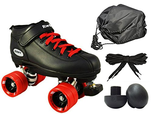 Riedell Dart Quad Speed Skate 4pc. Bundle w/ Bag, Toe Plugs & Laces (Red & Black) (Mens (Riedell Skates Sizing)