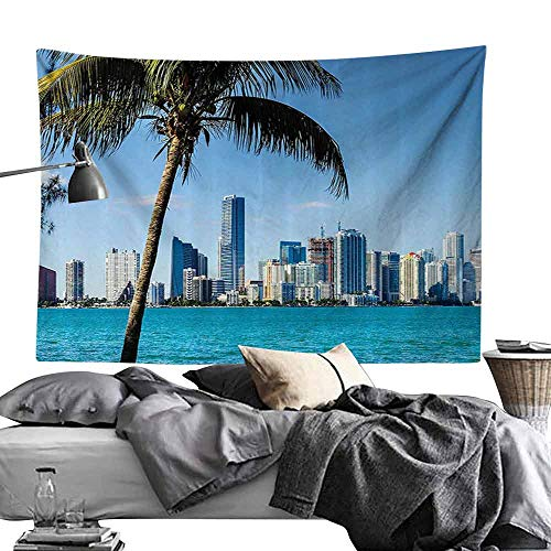Homrkey Commemorative Tapestry Coastal Decor Miami Downtown with Biscayne Bay Buildings and Palm Tree Panoramic Tapestry for Room W24 x L20 Sky Blue Aqua Green ()