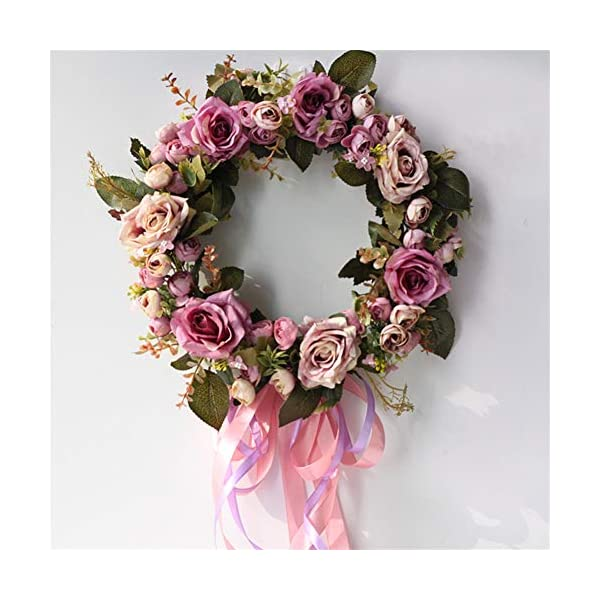 Liveinu Handmade Floral Artificial Simulation Peony Flowers Garland Wreath Wedding Table Centerpieces for Home Party Decor 14″ Purple Door Wreath with Ribbon