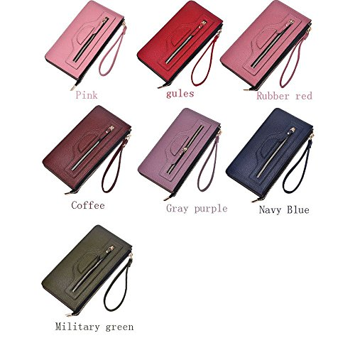 Large With Capacity For Clutch Leather Long Dark Purse green Color Wristlet Wallets Military Strap Women Pink wRXq8I