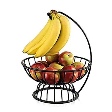 Black Wrought Iron Fruit and Vegetable Basket - For Kitchen Counters, with Banana Hanger (2 Separable Bowls)