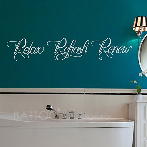 BATTOO Bathroom Wall Decal 'Relax Refresh Renew' - Vinyl Wall Lettering Bathroom Wall Decal Quote - Bathroom Sign Wall Art(white, 22