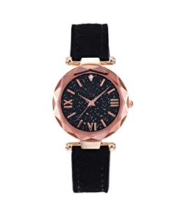 Auwer Watches, Lady Women's Roman Numerals Faux Leather Analog Quartz Women Wrist Watch (J)