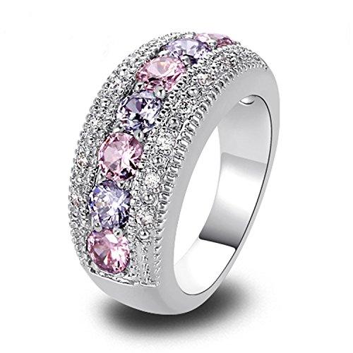spyman Wholesale Generous Fashion Lady Pink CZ Tourmaline Silver Color Ring Size 6 7 8 9 10 11 12 13 Romantic Love Jewelry Gift (T Virus Necklace)