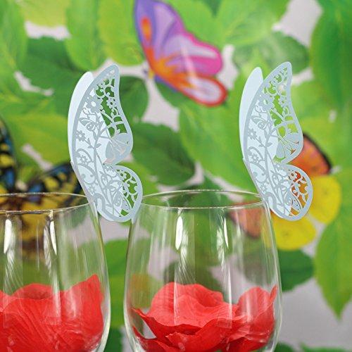 Lot de 50pcs Carte de Verre Marque Place Forme de Papillon Ajouré Décoration de Table pour Mariage (Bleu)