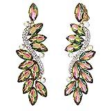 clip on ring earrings - BriLove Women's Wedding Bridal Crystal Multi Marquise Filigree Flower Chandelier Clip-On Dangle Earrings Vitrail Medium Gold-Tone