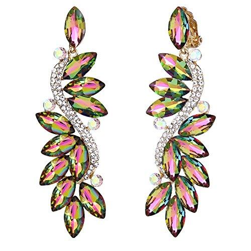 BriLove Women's Wedding Bridal Crystal Multi Marquise Filigree Flower Chandelier Clip-On Dangle Earrings Vitrail Medium Gold-Tone (Earrings Rhinestone Large)