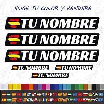 CUAC REVOLUTION 6 x Bandera ESPAÑA Nombre Pegatina EN Vinilo para ...