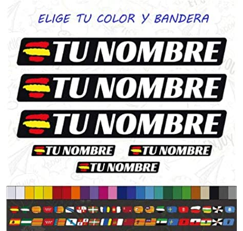 CUAC REVOLUTION 6 x Bandera ESPAÑA Nombre Pegatina EN Vinilo para Moto Bici Casco BTT Bicicleta Personalizable: Amazon.es: Coche y moto