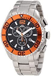 Swiss Precimax Men's SP12175 Deep Blue Pro II Orange Dial with Silver Stainless Steel Band Watch