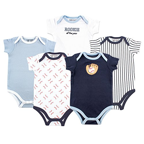 Luvable Friends Baby Cotton Bodysuits, Baseball 5Pk, 3-6 Months ()