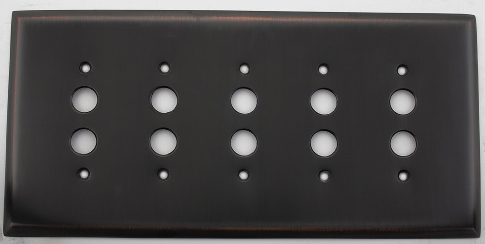 Oil Rubbed Bronze 5 Gang Push Button Light Switch Wall Plate