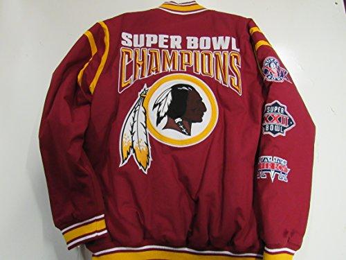 ワシントンレッドスキンズMens LargeスナップUp刺繍3時間Super Bowl Champions Twillジャケットardk 104 L