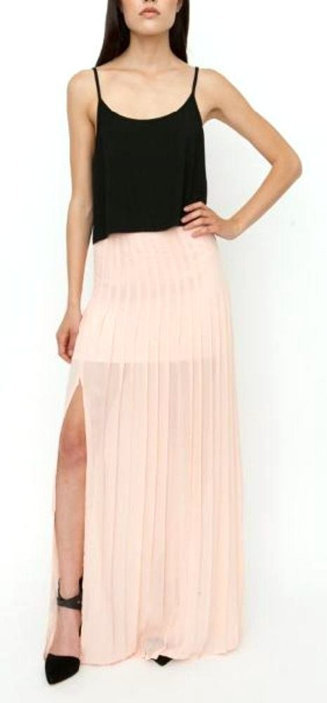 Blaque Label Women's Pleated Maxi Skirt with Slit M Nude