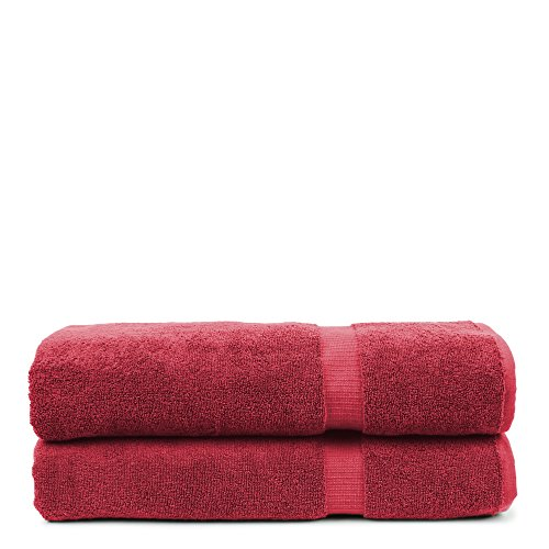 BC BARE COTTON Bare Cotton Luxury Hotel & Spa Towel Turkish Bath Sheets Dobby Border (Cranberry, Bath Sheets - Set of 2) by BC BARE COTTON