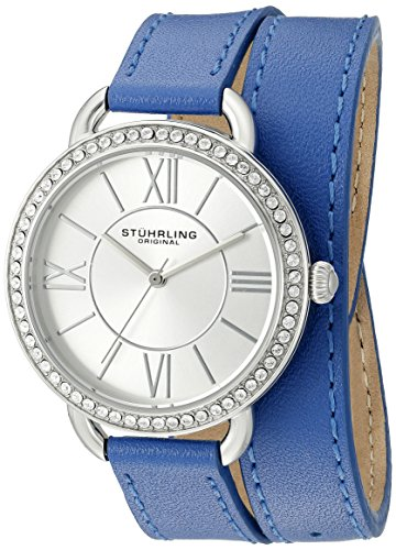 Stuhrling Original Women's 587.01 Deauville Quartz Crystals Blue Wraparound Leather Band Watch