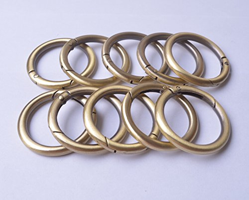 - Wento 10pcs 1 1/4'' (32mm) Gate Brushed Brass O Ring Round Carabiner Snap Clip Trigger Spring Keyring Buckle WTOR001 (1 1/4'', Brushed Brass)