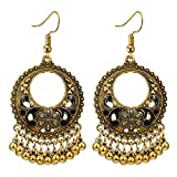 Toponly Bohemian National Style Hollow Water Drop Shaped Alloy Long Oil Flowers Hollow Round Bells Tassel Earrings