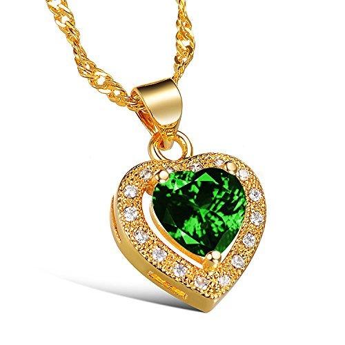 HHBuy Jewelry Luxury 18K Gold Plated White /Green Cubic Zircon Love Heart Earring Necklace Wedding Jewelry Set