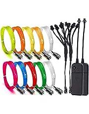 EL-draadset, 10x1m flexibele neonlichten, 2X batterijpakketten, RGB kleurrijke elektroluminescente draad Nachtbuislicht voor kleding Xmas Kerstboom Pasen DIY