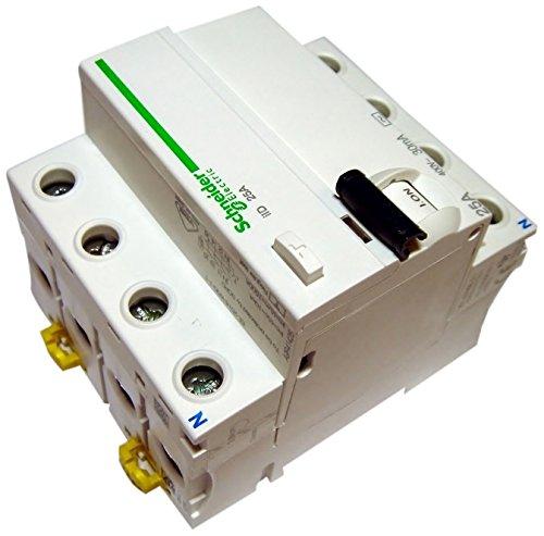 Schneider A9r41425à Courant résiduel Disjoncteur Iid 4P 25A 30mA AC, Blanc