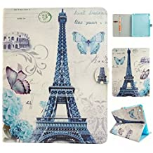 iPad Air Case,iPad 5 Case,RIVRE [Slim Fit] Folio Leather Stand [Wallet] Shell Cover with Card Holder Compatible with Apple iPad Air (iPad 5)[Eiffel Tower]