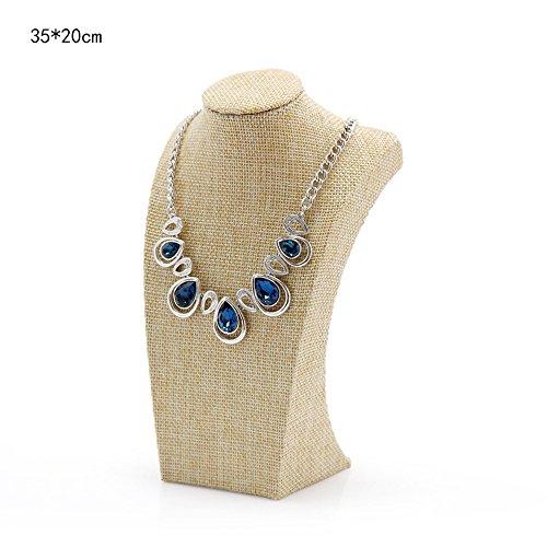 WERSHOW Beige Linen Necklace Bust Jewelry Display Stand Figure Jewelry Display (Beige Linen)