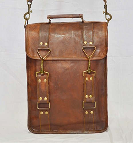 thehandicraftworld Vintage goat leather messenger Real satchel bag genuine laptop brown Vintage bag by thehandicraftworld