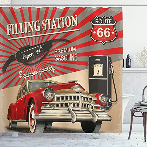 Ambesonne Cars Shower Curtain, Poster Style Image Gasoline Station Commercial Element Route 66 IllustrationPrint, Cloth Fabric Bathroom Decor Set with Hooks, 70 Long, Vermilion Beige