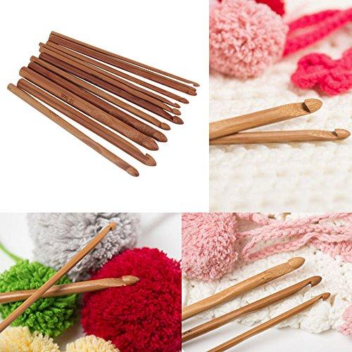 1 Set Hot 12 Size Bamboo Handle Crochet Hook Knit Yarn Craft Knitting Needle Set 1set New