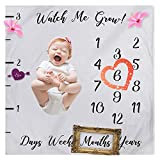 Baby Monthly Milestone Blanket, Photography Background Props for Newborn Infant Boy Girl New Mom Baby Shower Gift (Watch me Grow)