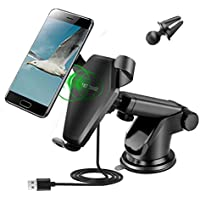 Fast Wireless Car Charger, Car Air Vent Dashboard Holder Mount for iPhone X/iPhone 8/8 Plus, Samsung Galaxy Note 8/Note 5, S6 S7 Edge S8 S8+, and All Qi-Enabled Phone Both In Home and Car