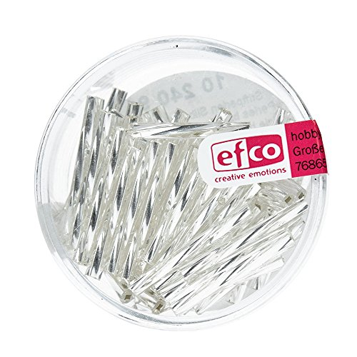 Efco 2 x 20 mm 10 g Bugle Beads Silver-Lined Twisted, Silver